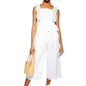 TOPSHOP White Embroidered Ruffle Jumpsuit